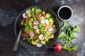 Rice salad with avocado and radish