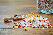 Lemon and rosemary salt with red peppercorns