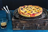 Lattice plum pie