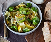 Pappardelle pasta with pan-fried Brussels sprouts and lemon