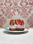 Strawberry mousse cake, sliced