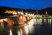 Die Alte Brücke in Abendbeleuchtung, Heidelberg, Hessische Bergstrasse, Deutschland