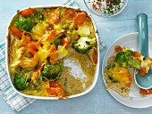 Vegetable and rice bake with chive yoghurt