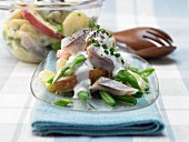 Potato and bean salad with soused herring strips and apple