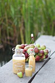 Naturtrüber Apfelsaft in Glasgefässen auf Tisch im Freien