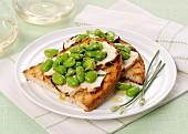 Crostini mit geräuchertem Ricotta und dicken Bohnen