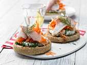 Trout in a bread roll with horseradish quark