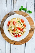 Italian pasta alla checca with raw tomatoes