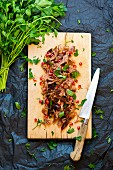Pulled pork with parsley and pomegranate seeds on a wooden board
