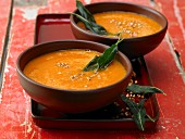 Tomato soup with toasted buckwheat and sage