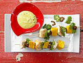 Chicken kebabs with mango and curry and coriander yoghurt