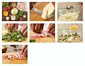 Weisskohlsalat mit Radieschen, Haselnüssen und Kassler zubereiten