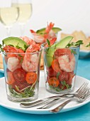Prawn salad in shot glasses