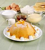 Pappa Mantovana (Biskuittorte mit Vanillesauce, Italien)