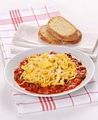 Uova in Trippa (Italian omelette strips in tomato sauce)