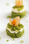 Sweet spinach cakes with cream and physalis