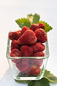 Freeze-dried strawberries in a glass dish
