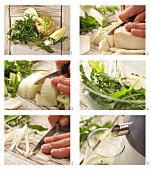 A rocket, celery and fennel drink being made