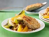 Quinoa and quark bake with fruit salad