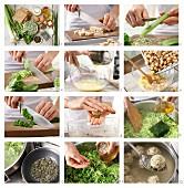 Semmelknödel auf Gemüse mit Schnittlauch und Kürbiskernen zubereiten