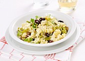 Fusilli with feta, olives and chilli peppers