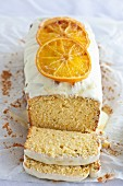 Orange cake with poppy seeds and white chocolate icing