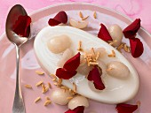 Almond milk jelly with litchis and almonds