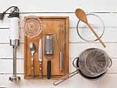 Kitchen utensils for a pudding dessert