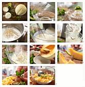Buttermilch-Limettencreme mit Melone und Minze zubereiten