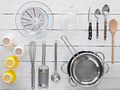 Various kitchen utensils for the preparation of desserts