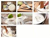 Joghurteis mit Vanille und Limettensaft zubereiten