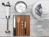 Various kitchen utensils for the preparation of ice cream