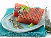 Grilled watermelon with lemon balm pesto