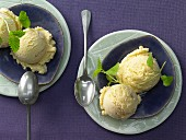 Soya and quince ice cream with vanilla and ginger
