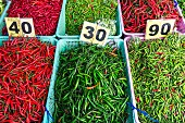 Baskets of assorted chillies at Meuang Mai market in Chiang Mai, Thailand