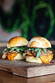 Brioche sliders with chopped lamb, harissa mayonnaise and rocket