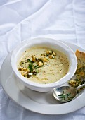Parsnip soup with rosemary, sage and blue cheese