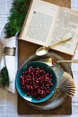 Pomegranate seeds in a bowl with a silver spoon and an open book