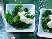 Spinach with coconut, cumin and curry yoghurt