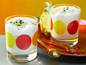 Coconut soy drink with pineapple and pistachios