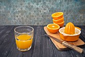 Freshly pressed orange juice in a glass