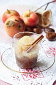 Apple compote with chestnut cream and cinnamon