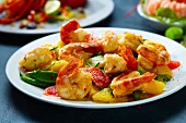 Prawns with avocado and citrus fruit