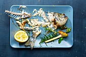 Leftover food and the skeleton of a gilt-head bream on a serving try