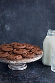 Triple chocolate cookies with milk