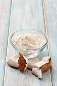 Coconut flour and chunks of coconut