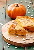 Pumpkin and bean quiche with Parmesan