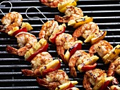Prawn and vegetable kebabs on the barbecue