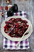 Beetroot carpaccio with redcurrants and horseradish