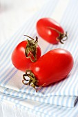 Three date tomatoes on a tea towel